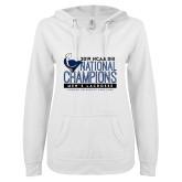 ENZA Ladies White V Notch Raw Edge Fleece Hoodie-2019 Mens Lacrosse NCAA DIII Champions
