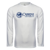 Performance White Longsleeve Shirt-Cabrini University Mark