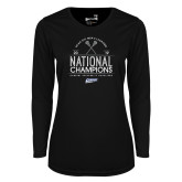 Ladies Syntrel Performance Black Longsleeve Shirt-2019 National Mens Lacrosse Champions