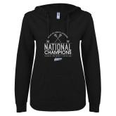 ENZA Ladies Black V Notch Raw Edge Fleece Hoodie-2019 National Mens Lacrosse Champions