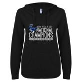 ENZA Ladies Black V Notch Raw Edge Fleece Hoodie-2019 Mens Lacrosse NCAA DIII Champions