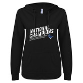 ENZA Ladies Black V Notch Raw Edge Fleece Hoodie-2019 NCAA DIII Mens Lacrosse Champions