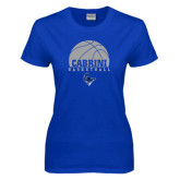 Ladies Royal T Shirt-Basketball on Top