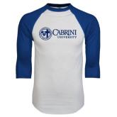 White/Royal Raglan Baseball T Shirt-Cabrini University Mark