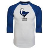 White/Royal Raglan Baseball T Shirt-Soccer