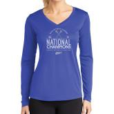 Ladies Syntrel Performance Royal Longsleeve Shirt-2019 National Mens Lacrosse Champions