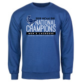 Royal Fleece Crew-2019 Mens Lacrosse NCAA DIII Champions