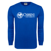 Royal Long Sleeve T Shirt-Cabrini University Mark