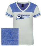 Ladies White/Heathered Deep Royal Juniors Varsity V Neck Tee-Primary Logo