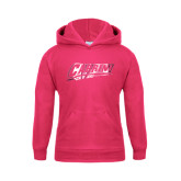 Youth Raspberry Fleece Hoodie-Primary Logo Engraved