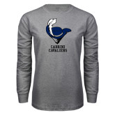 Grey Long Sleeve T Shirt-Mascot Cabrini Cavaliers