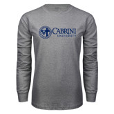Grey Long Sleeve T Shirt-Cabrini University Mark