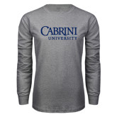 Grey Long Sleeve T Shirt-Cabrini University Stacked
