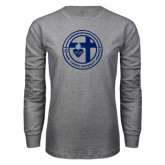 Grey Long Sleeve T Shirt-Cabrini University Seal