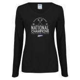 Ladies Black Long Sleeve V Neck Tee-2019 National Mens Lacrosse Champions