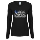Ladies Black Long Sleeve V Neck Tee-2019 Mens Lacrosse NCAA DIII Champions
