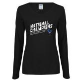 Ladies Black Long Sleeve V Neck Tee-2019 NCAA DIII Mens Lacrosse Champions