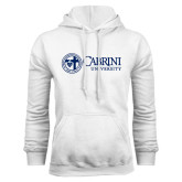 White Fleece Hoodie-Cabrini University Mark