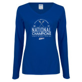 Ladies Royal Long Sleeve V Neck Tee-2019 National Mens Lacrosse Champions
