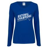 Ladies Royal Long Sleeve V Neck Tee-2019 NCAA DIII Mens Lacrosse Champions