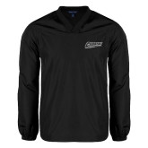 V Neck Black Raglan Windshirt-Primary Logo