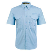 Light Blue Short Sleeve Performance Fishing Shirt-Primary Logo Engraved