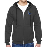 Charcoal Fleece Full Zip Hoodie-Mascot Head