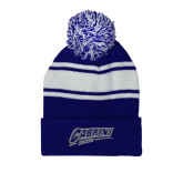 Royal/White Two Tone Knit Pom Beanie w/Cuff-Cabrini Soccer