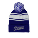 Royal/White Two Tone Knit Pom Beanie w/Cuff-Cabrini Softball