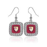 Crystal Studded Square Pendant Silver Dangle Earrings-Clinton Shield Logo