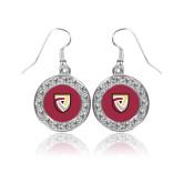 Crystal Studded Round Pendant Silver Dangle Earrings-Clinton Shield Logo