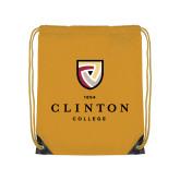 Gold Drawstring Backpack-Clinton Stacked Logo