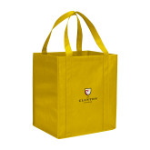Non Woven Gold Grocery Tote-Clinton Stacked Logo