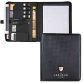 Carbon Fiber Tech Padfolio-Clinton Stacked Logo