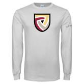 White Long Sleeve T Shirt-Clinton Shield Logo