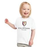 Toddler White T Shirt-Clinton Stacked Logo