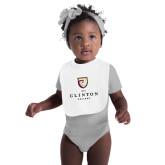 White Baby Bib-Clinton Stacked Logo
