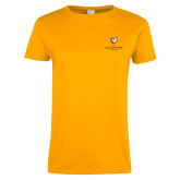 Ladies Gold T Shirt-Clinton Stacked Logo