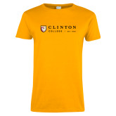 Ladies Gold T Shirt-Clinton Horizontal Logo
