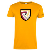 Ladies Gold T Shirt-Clinton Shield Logo