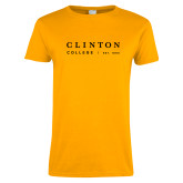 Ladies Gold T Shirt-Stacked Clinton Word Mark