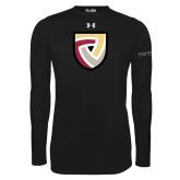 Under Armour Black Long Sleeve Tech Tee-Clinton Shield Logo