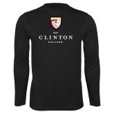 Performance Black Longsleeve Shirt-Clinton Stacked Logo