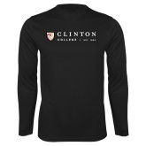 Performance Black Longsleeve Shirt-Clinton Horizontal Logo