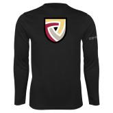 Performance Black Longsleeve Shirt-Clinton Shield Logo