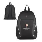 Atlas Black Computer Backpack-Clinton Stacked Logo