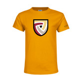 Youth Gold T Shirt-Clinton Shield Logo