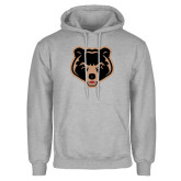 Grey Fleece Hoodie-Clinton Bear Logo