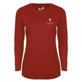 Ladies Syntrel Performance Cardinal Longsleeve Shirt-Clinton Stacked Logo