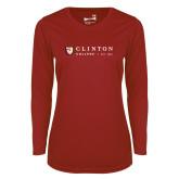 Ladies Syntrel Performance Cardinal Longsleeve Shirt-Clinton Horizontal Logo